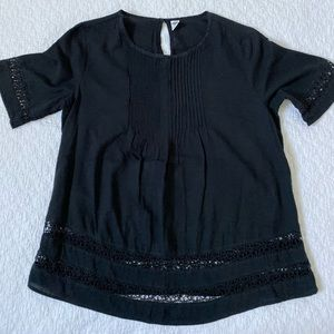Old Navy Black Embroidered Shirt